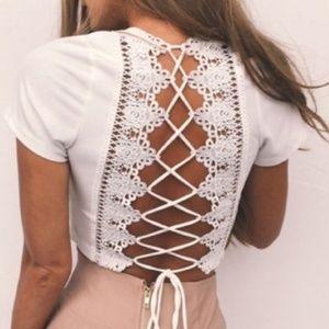 Lace up crochet back white deep v crop top